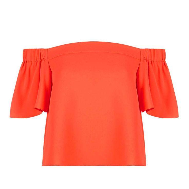 2016 NEW Summer Fashion trend women's PETITE Structured Bardot Top Off Shoulder Ruffles PETITE Structured Bardot Blouse…
