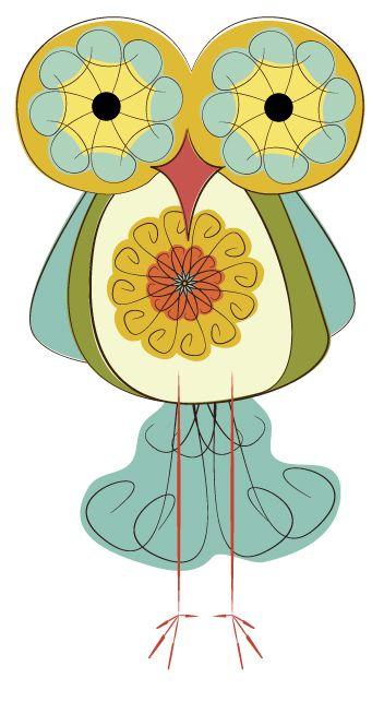Day 183: Swirly Retro Owl