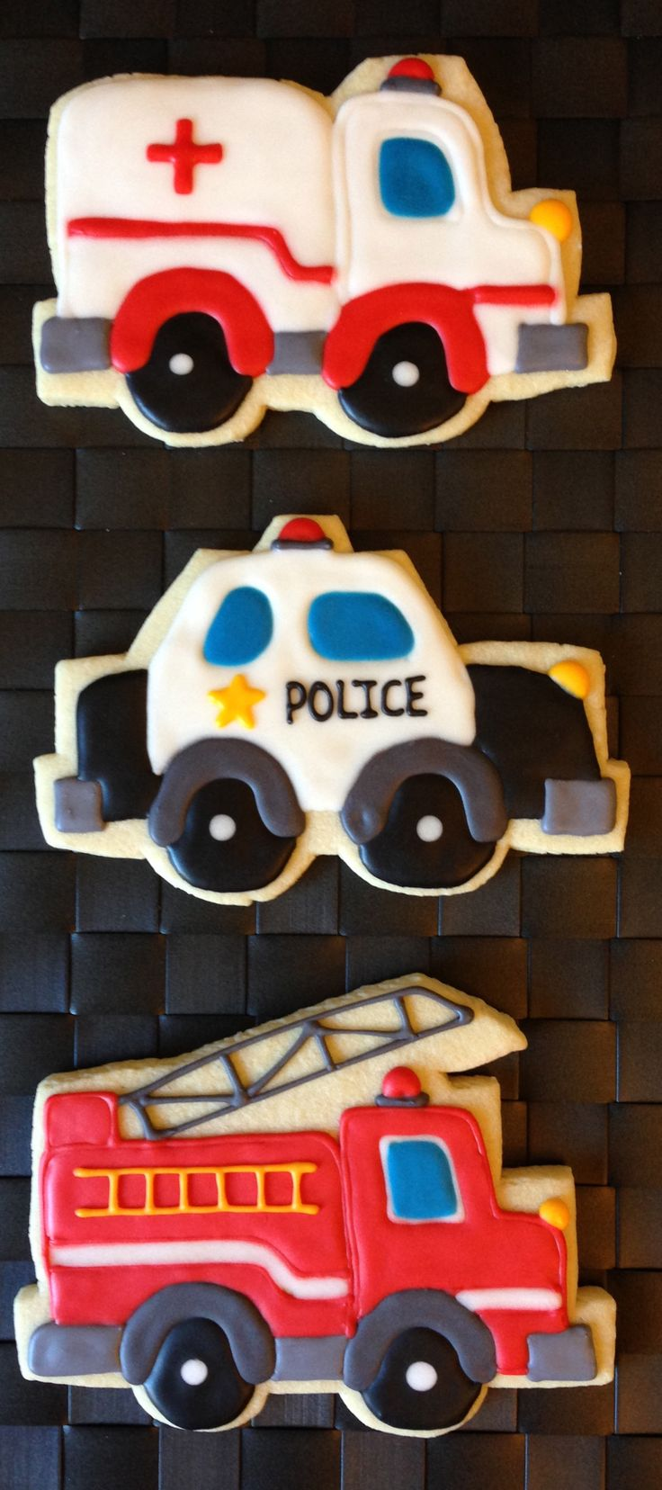 Ambulance Police Firetruck Decorated Cookies (Emergency Vehicles)