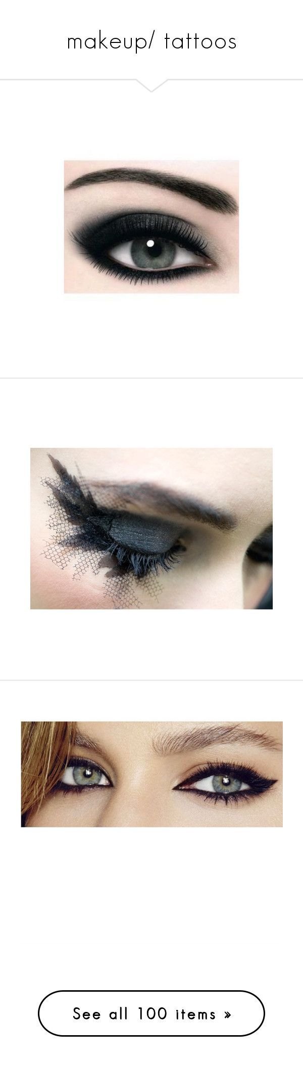 """""""makeup/ tattoos"""" by rock-with-it ❤ liked on Polyvore featuring beauty products, makeup, eye makeup, eyeshadow, eyes, beauty, max factor eyeshadow, max factor eye shadow, max factor and backgrounds"""
