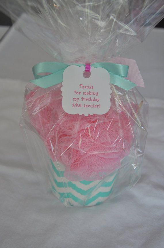 Handmade unique favor for little girl spa parties or girls birthday party favors. A bath puff ice cream sundae! A bath puff, mini nail polish, mini nail file, and hair tie. Sure to make the party SPA-tacular! These are handmade bathpuff ice cream sundaes wrapped up with a coordinating bow. They are finished off with a tag that reads Thanks for making my Birthday SPA-tacular! Personalization is available at no extra charge. Your little girl and her friends will flip for these. Other fillers…