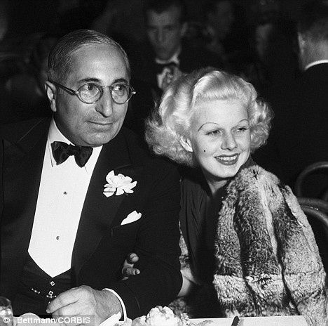 Louis B. Mayer and Jean Harlow at a dinner in Hollywood, December 1933 [Bettman/CORBIS]