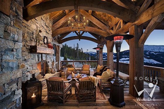 double gasp.....GREAT porchCabin, Dreams, Outdoor Living, Outdoor Patios, House, Outdoor Fireplaces, Porches, Timber Frames, Outdoor Spaces