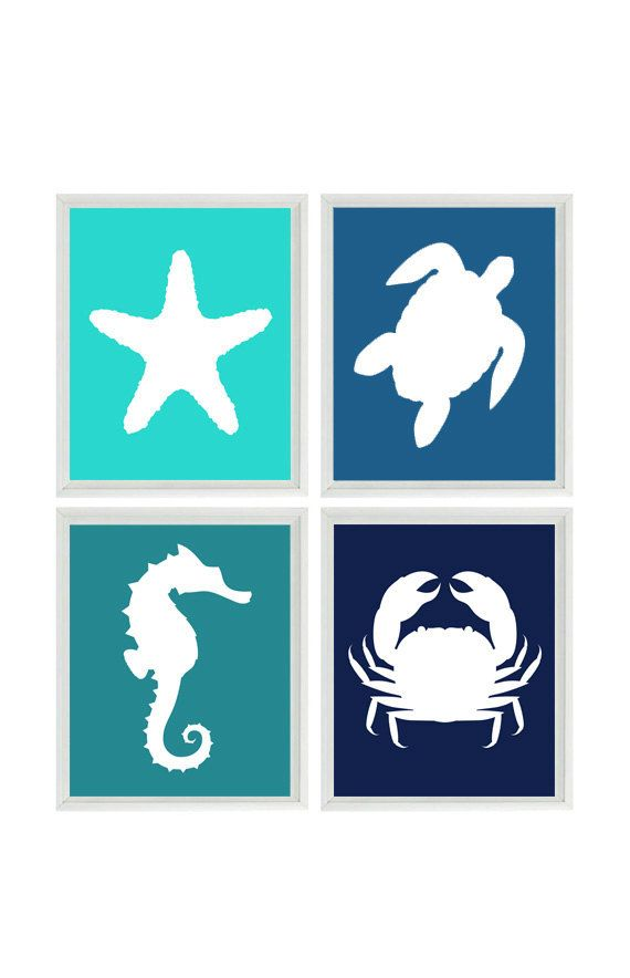 Beach Art Print Set - Nursery Bathroom Aqua Blue Navy - Sea Creature Seahorse Starfish Ocean - Beach House Wall Art Home Decor Set 4 8x10