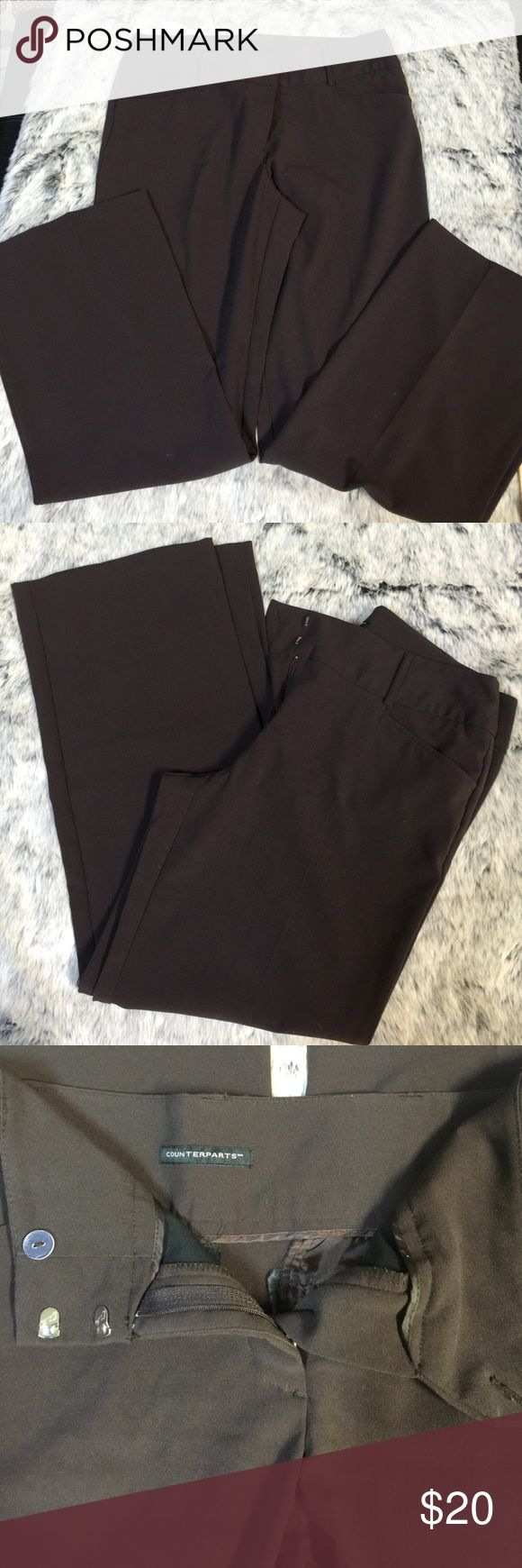 Brown slacks 29 1/2 inseam.  34 waist. Chocolate brown slacks!  Perfect for work!  Poly, rayon, spandex.  Very gently loved. Counterparts  Pants Trousers