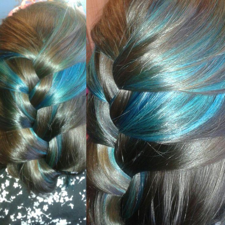 Peekaboo Blue Hair Highlights On Dark Brown Hair Braids
