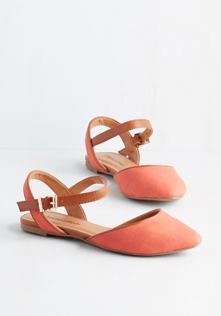 Just What I Had Inn Mind Flat in Coral - Flat, Faux Leather, Coral, Solid, Casual, Good, Variation