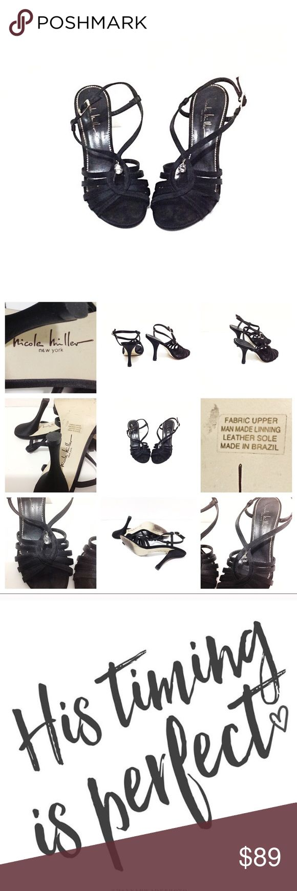 Nicole Miller Evening/ Party Black & Jewel Sandals Feminine Nicole Miller New York black strappy sandals with a tear drop jewel. Satin upper & leather soles. T crossed straps open toes, and ankles buckle strap. Very classy chic and fashion forward for the holidays • perfect for office parties, evening formal dates & black tie dressy events, weddings, pageants, bridesmaids, pinup theme • these are gently use •  marked size 36 B • smoke & cat free home • God bless & happy Poshing! Nicole…