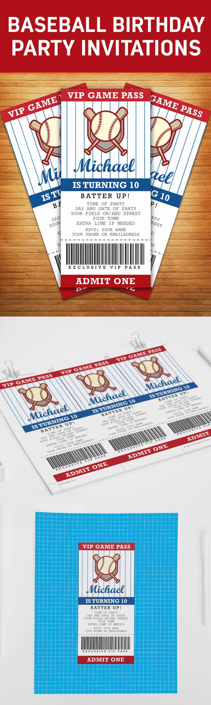 Create a cool baseball / softball themed birthday party invitation!