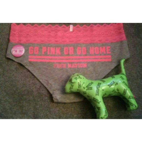 """Panty, Pin, and Dog Everything is brand new!  Includes-  Medium limited edition """"go pink or go home"""" pink nation panty  """"Im in"""" pink nation pin  Neon green """"pink"""" dog PINK Victoria's Secret Accessories"""