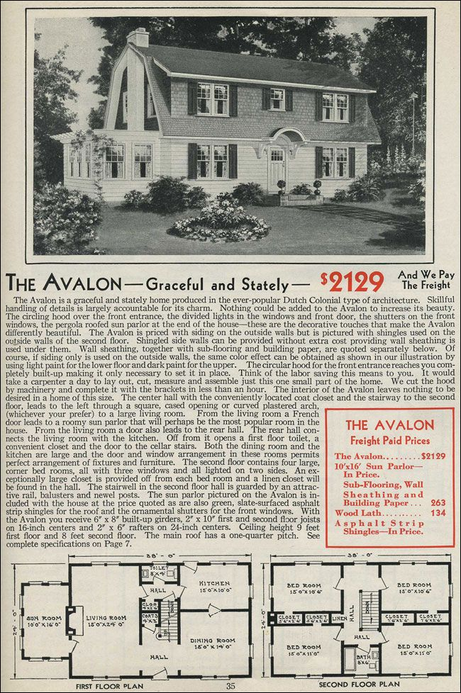gambrel roof colonials | Dutch colonial - Gambrel Roof - 1931 Aladdin Avalon - Kit house