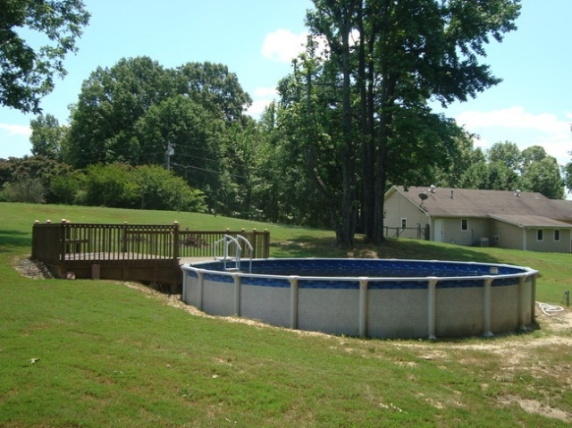 Above Ground Pool On A Hill Outdoor Decor Pinterest In Pools And Decks