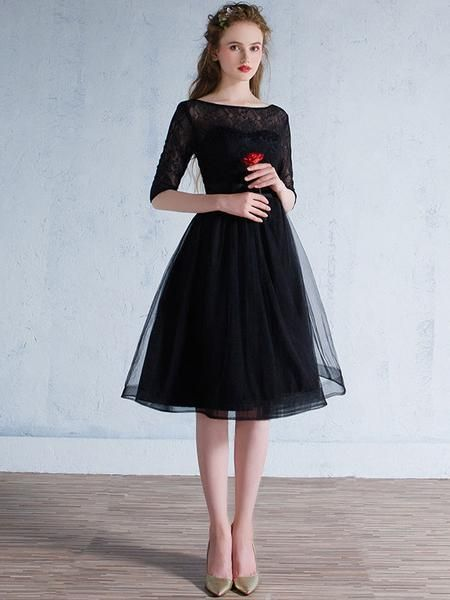 Timeless black lace formal dress with half sleeves and keyhole back. This dress can also be made without the keyhole back if requested. This dress is made to order and turn around time is around 4-7 w