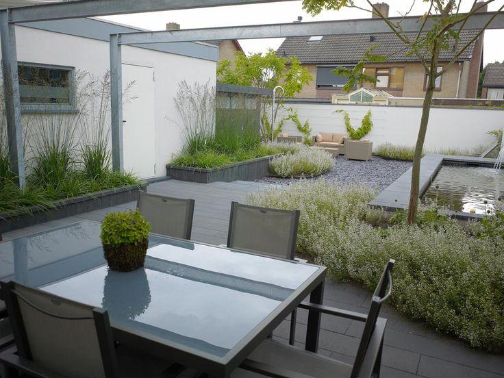 Een moderne, kleine achtertuin met vijver.