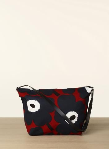 MARIMEKKO MARIA UNIKKO BAG RED, BLUE, BLACK  #unikko #burgundy #blue #navy #black #floral #flower #leather #cotton #canvas #marimekko #purse #bag #pirkkoseattle #pirkkofinland