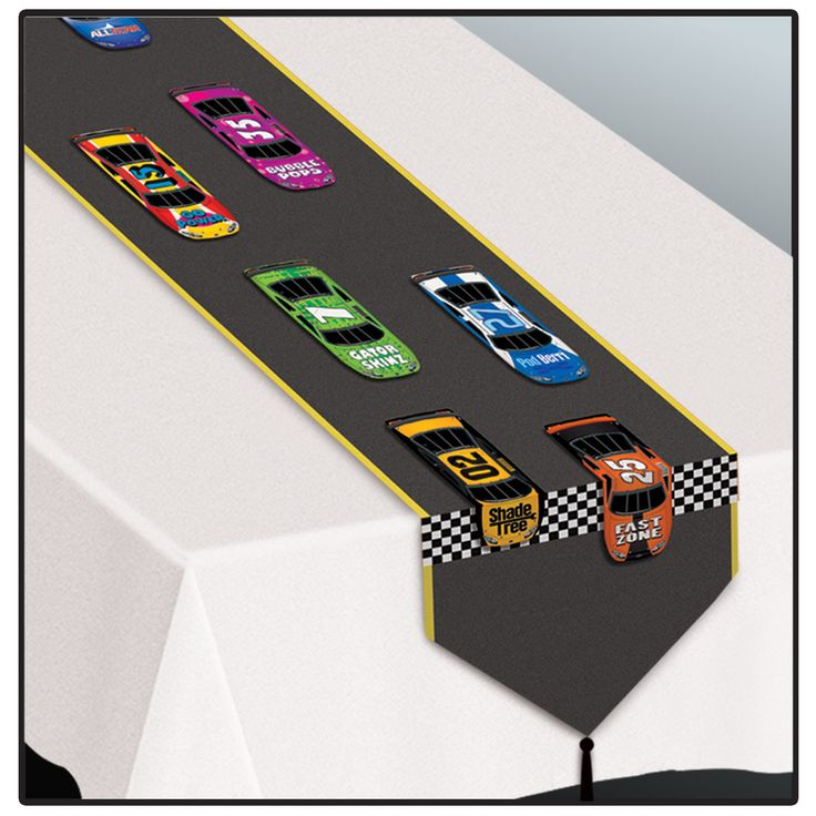 Printed Racing Table Runner (paper).  Keep your racing car themed party decorating on the right track with this Racing Table Runner! Add this birthday party table runner to your race car lover's party for the perfect look. Lay it on your party or birthday presents table to keep the fun going full speed ahead!  27.9 cm x 1.83 m; glossy paper. Price is per (1) one table runner.