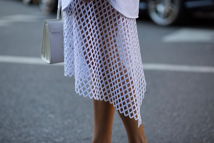 SS16 streetstyle detail white holey skirt  small bag white shirt
