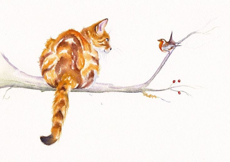 CATS / KITTENS / GINGER TABBY: ORIGINAL WATERCOLOUR PAINTING: 7x10