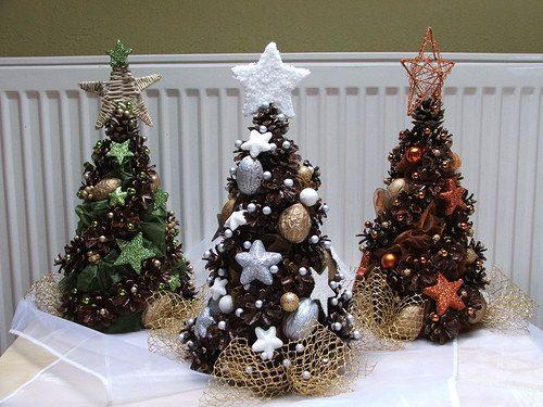 Vánoční stromeček bílo-hnědý