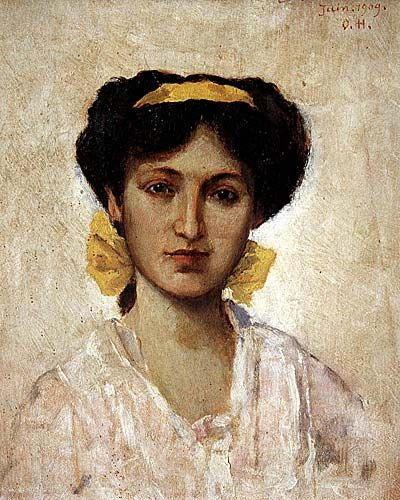Girl with Yellow Ribbon - Osman Hamdi Bey (Turkish: 1842-1910)
