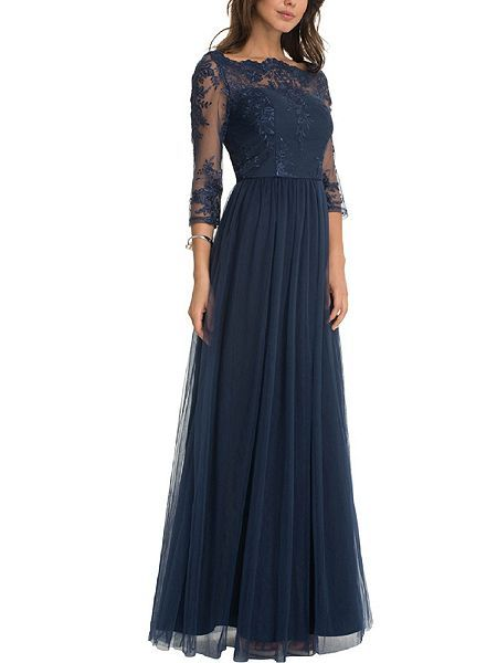 Embellished Embroidered Maxi Dress, the lace and embroidery embellishment give a lovely vintage look to this gown. Three-quarters long sleeves.  From House of Fraser, Chi Chi of London. Navy Blue.