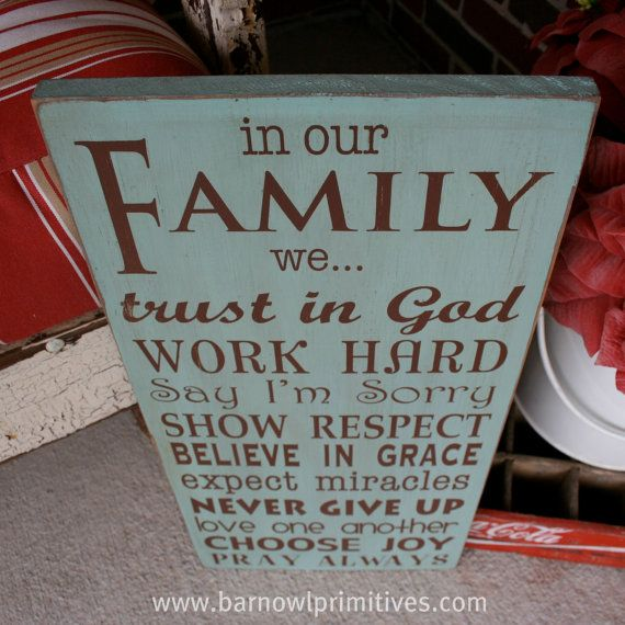 In Our Family we... Family Rules Wooden Sign  by barnowlprimitives