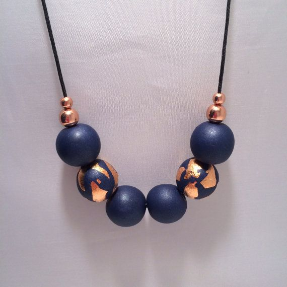 Navy Blue & Copper Foil Polymer Clay Necklace