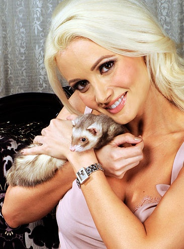 Holly Madison and her ferret Nancy