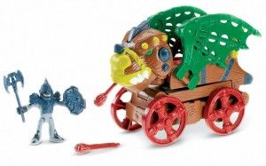 Dragon Wagon Looks like a dragon vehicle, but push down onto his lever and watch him transform. Vehicle transforms into a tall dragon perfect for attacking other dragons or a castle. http://bit.ly/1s8J3oc