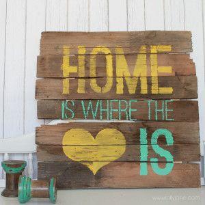 DIY Home is where the heart is pallet sign via lollyjane.com #palletart #diy
