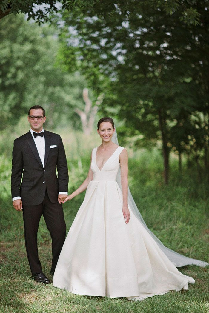 Michelle + David. Outdoor wedding at Blooming Hill Farms. Wedding Dress: Langham by Anne Barge. Bridal Salon: Kleinfeld Bridal, NYC.