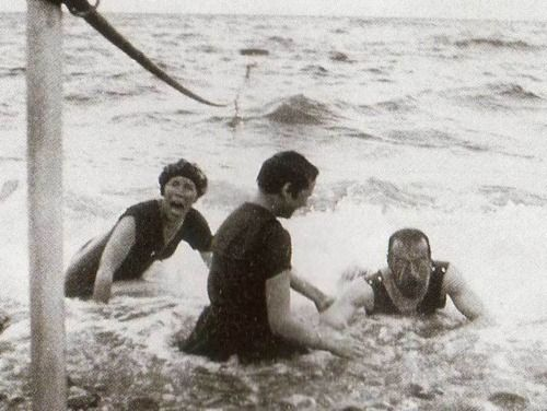 Tsar Nicholas II of Russia, having fun at the beach with daughter Gdss Tatiana (middle) and sister Gdss Olga Alexandrovna (left)