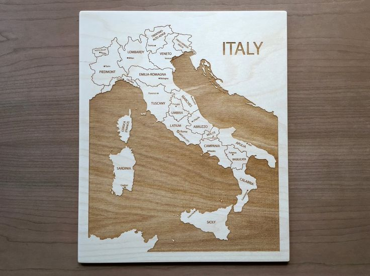 Italy Engraved Wood Map