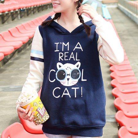 Sono un vero felpa con cappuccio gatto fresco per le ragazze della marina lungo stile felpa pullover