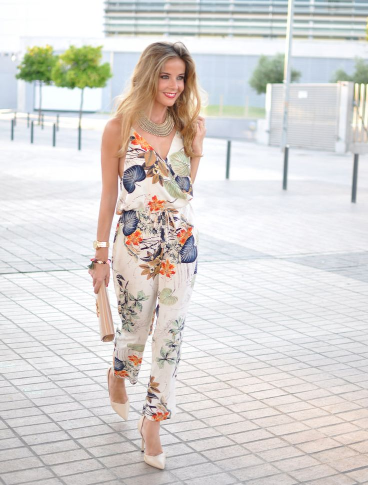 Floral print jumpsuit, Louis Vuitton Clutch