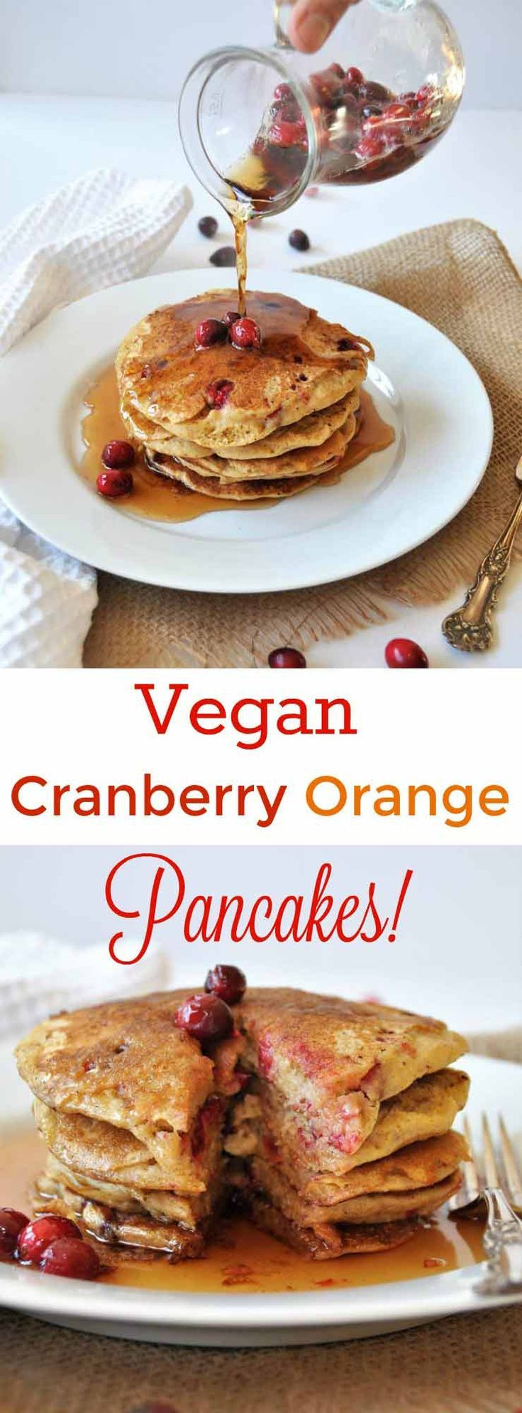 Vegan Cranberry Orange Pancakes for breakfast! Dairy and egg-free ...