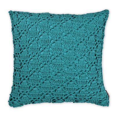 Crochet Cushion in Teal 50cm | Aura Home