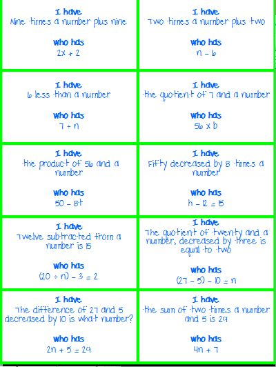 I Have, Who Has - Translating Words into Math/ Writing Expressions and Equations product from KlaRenays-Shop on TeachersNotebook.com