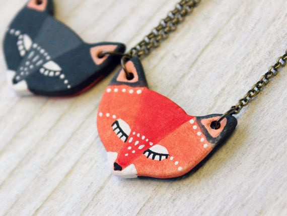 Reversible fox Necklace porcelain fox totem by HandyMaiden on Etsy