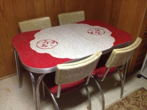 Vintage 1950s formica chrome kitchen table chairs for Kitchen set from the 90 s