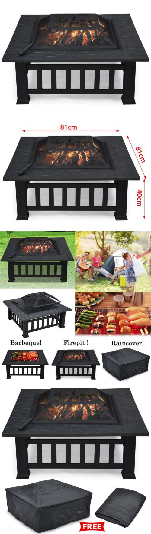 Fire Pits and Chimineas 85916: Square Metal 32 Fire Pit Outdoor Patio Garden Backyard Stove Firepit Brazier -> BUY IT NOW ONLY: $67.99 on eBay!