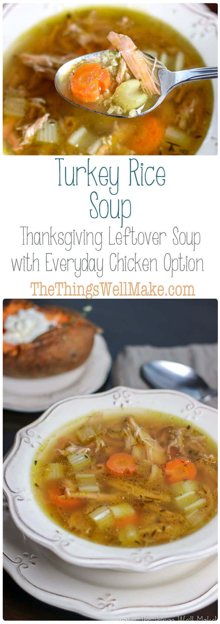 Don't throw away the skin, bones and leftover turkey pieces, make this turkey rice soup, the best Thanksgiving leftover soup idea! You can also do this any time of year with leftover chicken! #Thanksgiving #leftovers #soup via @thethingswellmake
