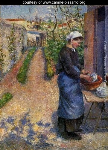 Young Woman Washing Plates - Camille Pissarro - www.camille-pissarro.org