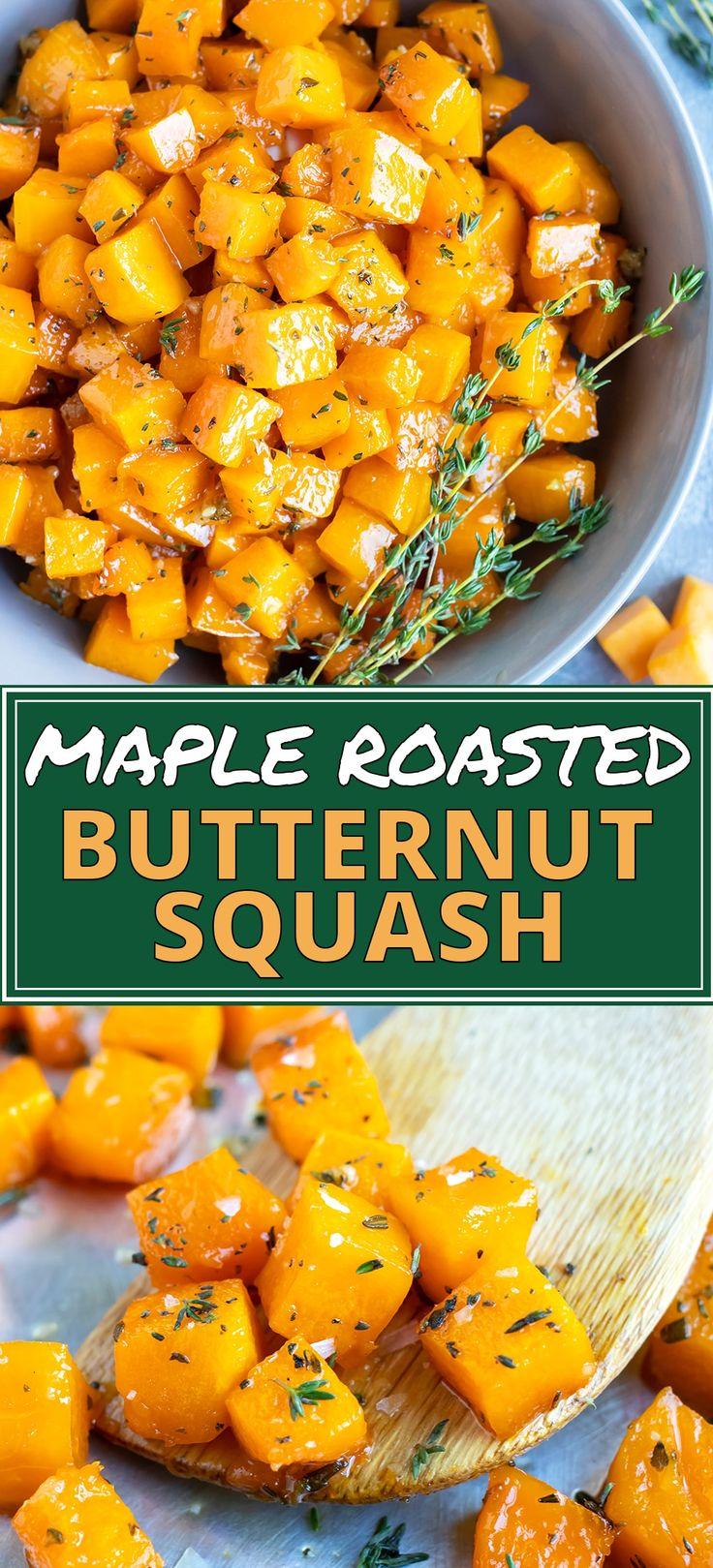Maple Roasted Butternut Squash Cubes Recipe