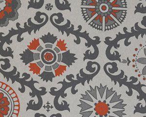 Drapery Panels Burnt Orange And Gray Rosa By LouiseandCompany, $100.00