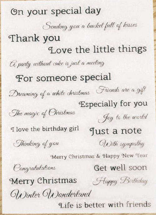 Little Things Clear Rubber Stamp Set w/ special day, thank you ...