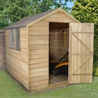 This larger 8x6 Pressure Treated Overlap Shed features a traditional apex roof design, giving an attractive appearance further enhanced by the smooth planed finial and barge boards. The generous size of this shed makes it ideal for storing all of your garden items in one place.   It has 2 windows to let in plenty of extra light which are made from unbreakable Polycarbonate that will never turn yellow or go brittle over time and are held in place with security screws. The sturdy door is…