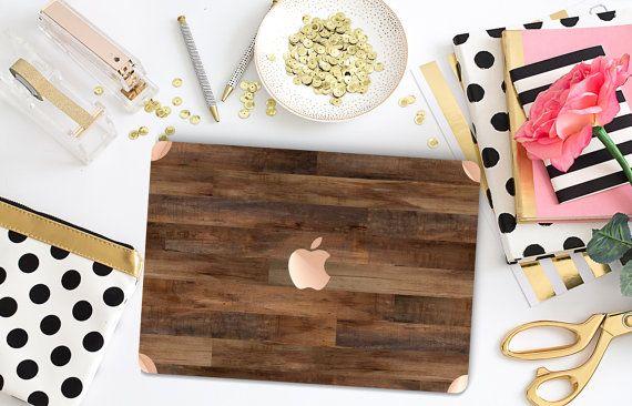 "Dark Varnished Wood Gold Detailing Hybrid Hard Case for Apple Macbook Air & Mac Pro Retina, New Macbook 12"""