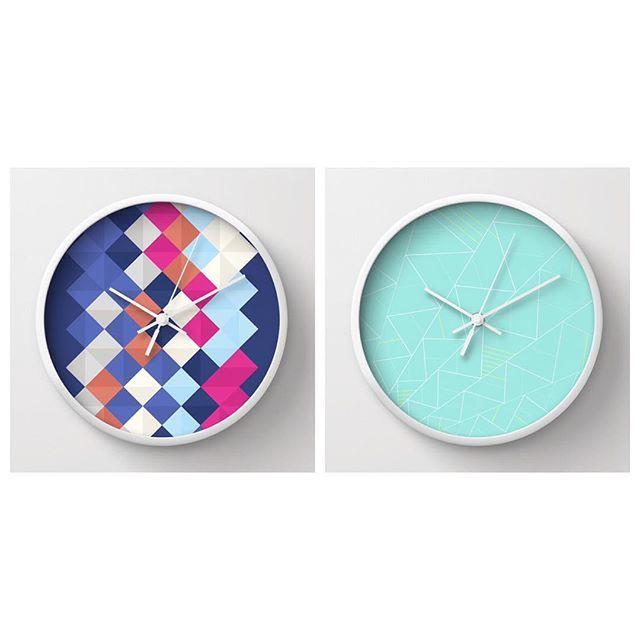 TRIANGLOW & ZETA Wall Clock  http://society6.com/sorbetedelimon #society6 #society6art #design #home #decor #deco #triangle #triangles #rombs #colorful #art #wallart #wallclock #clock #etnik #nordic #sorbetedelimonprints #sorbetedelimon #nordicdesign #scandinavian