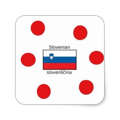 Slovenian Language And Slovenia Flag Design Square Sticker - craft supplies diy custom design supply special
